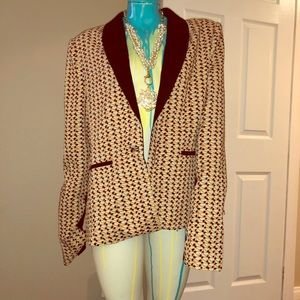 Tuxedo Style Geometric Print Blazer